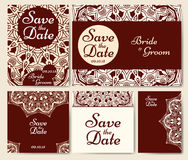 Set of wedding invitations. Wedding cards template with individual concept. Design for invitation, thank you card, save the date c Stock Image