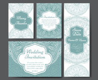 Set of wedding invitations. Wedding cards template with individual concept. Design for invitation, thank you card, save the date c Royalty Free Stock Photo