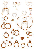 A set of wedding items Royalty Free Stock Images