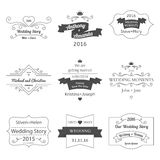 Set of Wedding Labels and Insignias Vector. Illustration Stock Photo