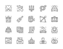 Set of Wedding Line Icons. Bridal Bed, Limousine, Bride, Bridegroom and more. stock illustration