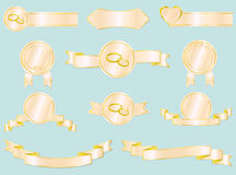 Set of wedding and love ribbons, badges and labels Stock Images