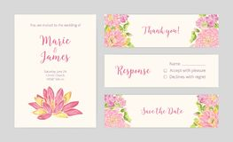 Set of wedding party invitation, Save the Date card, Response and Thank You note templates with blooming lotus flowers. Hand drawn on light background and place Royalty Free Stock Photography