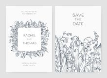 Set of wedding party invitation and Save The Date card templates with Lily of the valley flowers hand drawn with black. Contour lines on white background Stock Image