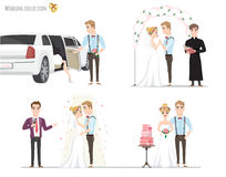 Set of wedding pictures, bride and groom in love Royalty Free Stock Photography