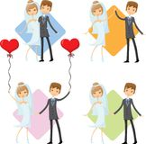 Set of wedding pictures,vector Stock Photos
