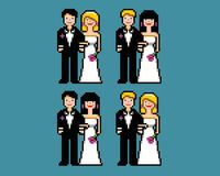 Set of wedding pixel art newlywed avatars vector illustration. Set of wedding pixel art newlywed avatars icons vector illustration stock illustration