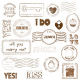 Set Of Wedding Postage Stamps Stock Photography