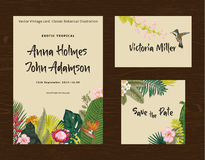 Set wedding printing. The invitation, guest card, save the date. Vintage vector botanical illustration. Royalty Free Stock Image