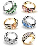 Set wedding rings and diamonds. Vector Royalty Free Stock Photography