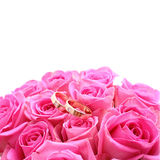 Set of wedding rings in pink rose taken closeup Royalty Free Stock Photo