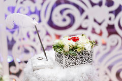 Set of wedding rings in Red and white rose taken closeup. wedding concept. selective focus. flower arrangement box for Stock Images