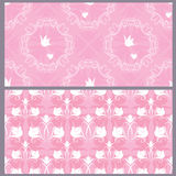 Set of wedding seamless pattern - floral ornament with wedding stock illustration