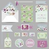 Set of Wedding Stationary - Invitation Cards Royalty Free Stock Image