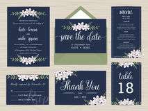 Set of wedding suite template decorate with flower in navy blue color. Royalty Free Stock Image