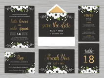 Set of wedding suite template decorate with white flowers. Stock Photo