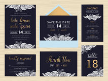 Set of wedding suite template decorate with white rose. Royalty Free Stock Photos