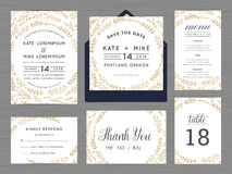 Set of wedding suite template decorate with wreath flowers in golden color. Royalty Free Stock Image
