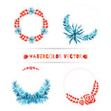 Set of wedding tropical wreaths. Exotic borders for invitations. Stock Image