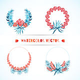 Set of wedding tropical wreaths. Exotic borders for invitations. Royalty Free Stock Photo