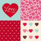 Set of wedding valentine heart pattern background stock photo