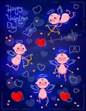 Set Wedding and Valentines Day design elements. Little cute cupids on dark neon background. Vector illustration Royalty Free Stock Photos