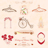 Set of Wedding and Valentines Day elements Stock Photo
