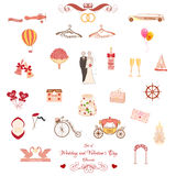 Set of Wedding and Valentines Day elements Royalty Free Stock Photos