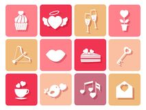 Set of wedding and Valentines icons for cards Royalty Free Stock Images