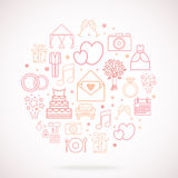 Set of wedding vector icons, groupped in circle. Stock Image