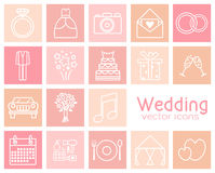 Set of wedding vector icons. Wedding dress, suit, car, etc Royalty Free Stock Photos