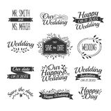 Set of wedding vintage retro logos, signs, labels Stock Photos