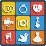 Set of 9 wedding web and mobile icons. Vector. Royalty Free Stock Photo
