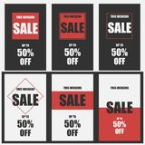 Set of 6 weekend sale banners. The weekend sale poster, up to 50 off. Vector illustration EPS 10 Royalty Free Illustration