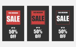 Set of 3 weekend sale banners. The weekend sale poster, up to 50 off. Vector illustration EPS 10 Stock Illustration