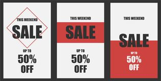 Set of 3 weekend sale banners 2. The weekend sale poster, up to 50 off. Vector illustration EPS 10 Royalty Free Illustration