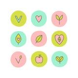 Set weganin, naturalne, organicznie abstrakcjonistyczne ikony, Zdjęcie Stock