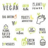 Set weganinu teksta znaki Zdjęcie Royalty Free