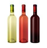 Set Weiß, Rose und Rotweinflaschen Lizenzfreie Stockfotos
