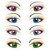 Set weibliche Augen stock abbildung