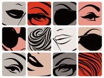 Set weibliche Gesichtsteile. Vektorabbildung. lizenzfreies stockbild