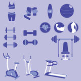 Set of Weight Training and Fitness Exercise Vectors and Icons Stock Photo