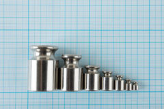 Set of weights on graph paper Royalty Free Stock Image