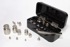 Set of weights for laboratory measurements Stock Image