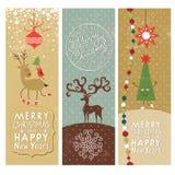 Set Weihnachten und neue Jahre Fahnen Stockbilder