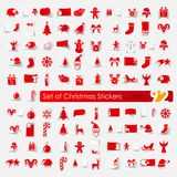 Set Weihnachtsaufkleber Stockfotografie