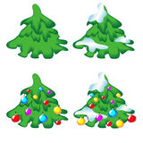 Set Weihnachtsbäume Lizenzfreie Stockfotos