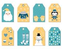 Set Weihnachtsgeschenkmarken lizenzfreie abbildung