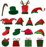 Set Weihnachtshut und -geschenke Stockbild