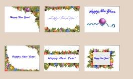 Set Weihnachtskarten Stockbilder